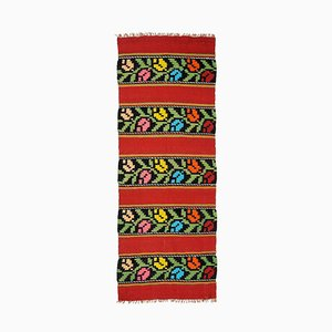 Romanian Red Wool Runner Rug with Tulips, 1970s