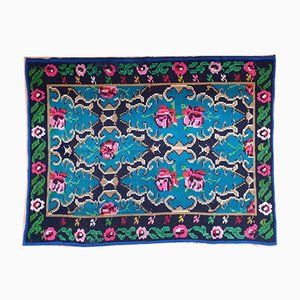 Small Romanian Blue Handwoven Bohemian Carpet with Roses, 1970s