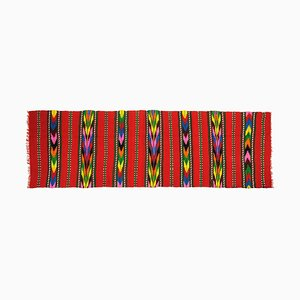 Romanian Handwoven Red Wool Runner with Colorful Stripes
