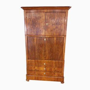 19th-Century Solid Oak & Walnut Root Secretaire