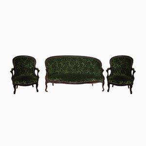 Antikes Französisches Louis Philippe Sofa & 2 Sessel Set