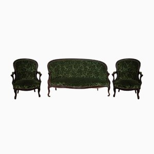 Antique Louis Philippe French Sofa & 2 Armchairs Set