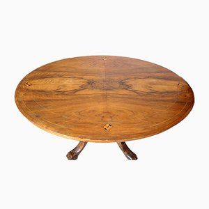Oval 19th-Century Walnut & Solid Oak Table with Inlaid Top