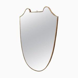 Specchio Mid-Century moderno in ottone, Italia, anni '50