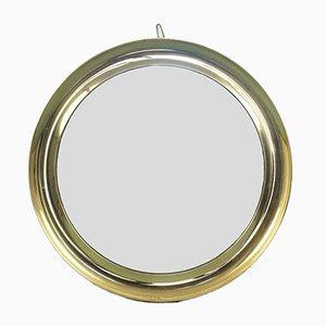 Specchio da parete rotondo vintage in metallo di Sergio Mazza, anni '60