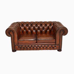 Antique Victorian Style Leather 2-Seater Chesterfield Sofa