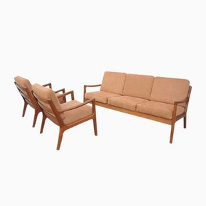 Mid-Century Teak Senator Living Room Set by Ole Wanscher for Cado, Set of 3