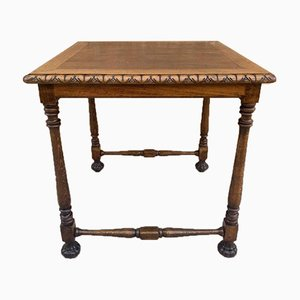 Mid-Century Carved Square Walnut Side Table in the Louis Philippe Style