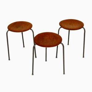 Industrial Swedish Stools, 1960s, Set of 3
