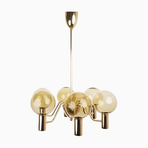 Lámpara de araña Patricia T372 / 6 sueca de Hans-Agne Jakobsson, AB Markaryd, años 50