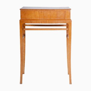 Small Brown Ash Art Deco Pedestal Table, 1920s
