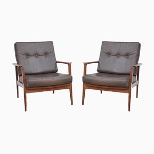 Mid-Century Teak & Leather Lounge Chairs by Wilhelm Knoll for Knoll Antimott, Set of 2
