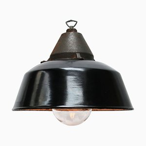 Vintage Black Enamel Industrial Cast Iron Factory Pendant Light