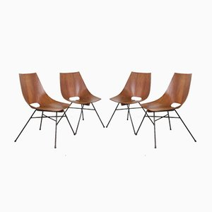 Italian Plywood Dining Chairs by Eugenio Gerli for Società Compensati Curvati, 1950s, Set of 4