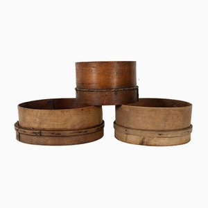 Antique Danish Wooden Sieves, Set of 3