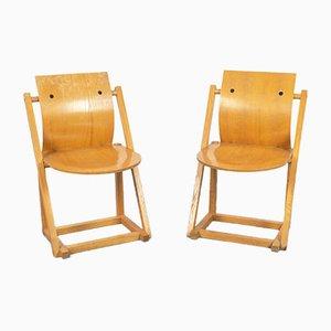 Skandinavische Vintage Holzstühle, 1970er, 2er Set