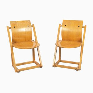 Vintage Scandinavian Wooden Chairs, 1970s, Set of 2