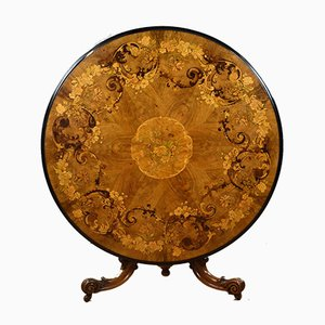Victorian Walnut Inlaid Marquetry Circular Tilt Top Table