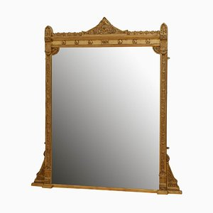 Großer Viktorianischer Vergoldeter Overmantel Spiegel