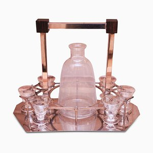 Art Deco Liqueur Set With Chromed Octagonal Base & Rosewood Block Cornices