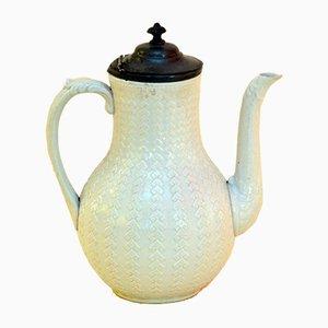 Weiße Salzglasierte Weiße Kaffeekanne aus Eisen und Zinn, 1870er