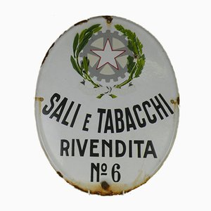 Oval Italian Vintage Advertising Enamel Tobacco Sign, Sali e Tabacchi, 1950s