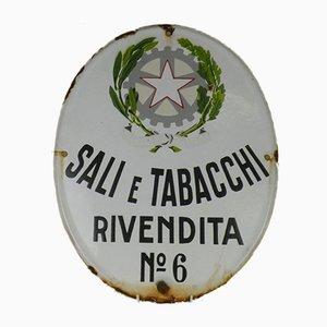Ovales italienisches Vintage Tabak Werbeschild aus Werbeschild, Sali e Tabacchi, 1950er