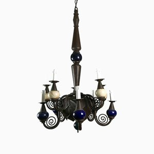 Wrought Iron and Egg Ostrich Chandelier