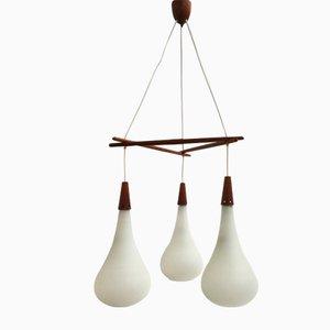 Lámpara colgante escandinava de teca y vidrio escarchado, años 60