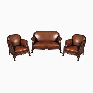 Chippendale Hand Dyed Leather & Mahogany Living Room Set, 1920s, Set of 3