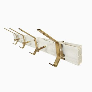 Italian Lucite Plexiglass and Brass Coatrack, 1970s