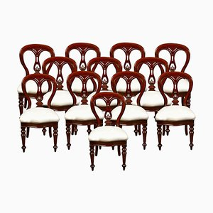 Mahogany Victorian Dining Chairs, Set of 12