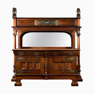 Large Carved Walnut Sideboard with Mirrored Back