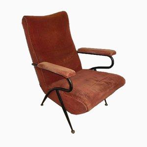 Italian Velvet Lounge Chair, 1940s
