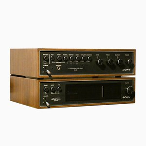 Vintage Woodcase TA 70 Amplifier & ST 70 Tuner HIFI Components from Sony, 1972, Set of 2