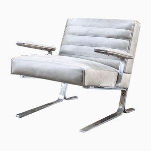 Steel & Leather Armchair, 1970s