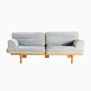 Vintage Blue Oak Sofa, 1970s