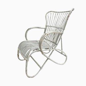 Chaise en Osier Blanc par Rohé Noordwolde, 1960s
