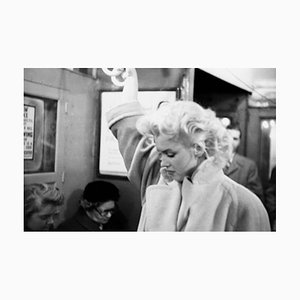 Marilyn In Grand Central Station Silver Gelatin Resin Print, Framed In Black by Ed Feingersh for GALERIE PRINTS