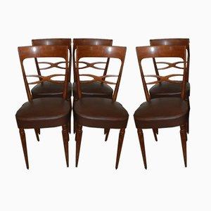 Esszimmerstühle im Stil von Paolo Buffa, 1950er, 6er Set