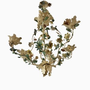 Italian Metal Flower Chandelier, 1940s