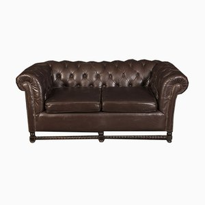 Dark Brown Leather Chesterfield Sofa