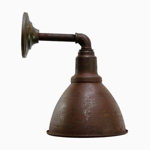 Industrielle Braune Vintage Eisen Wandlampe aus Eisen