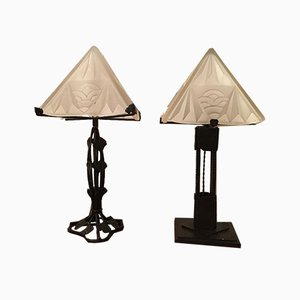 Art Deco Wrought Iron Table Lamps from Degué, 1920s, Set of 2