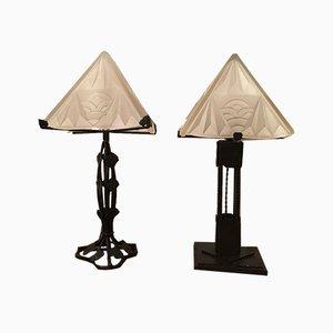 Lampade da tavolo Art Deco in ferro battuto di Degué, anni '20, set di 2