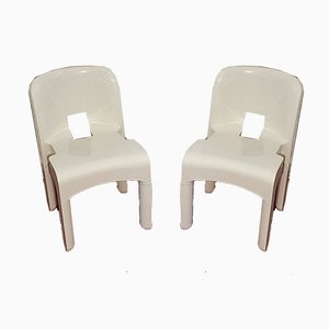 Mid-century Model 4860 Universale White Polycarbonate Chairs by Joe Colombo for Kartell, Set of 2