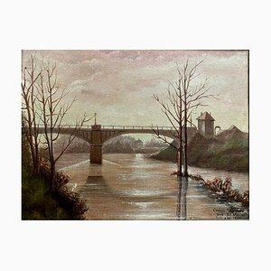 Paris School Painting by Clement Bignon, View of the Seine in Saint Ouen