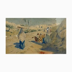 Orientalist School Painting by Henri Martin, Animated View in North Africa