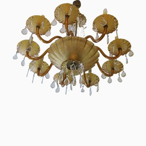 Large Venetian Amber Murano Glass & Brass 8-Arm Chandelier, 1960s