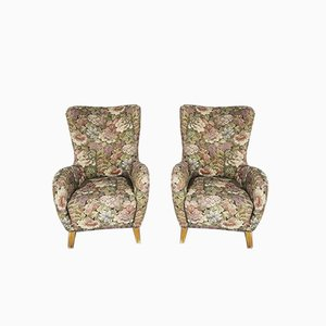 Lounge Chairs in Wood with Floral Fabric, 1960s, Set of 2